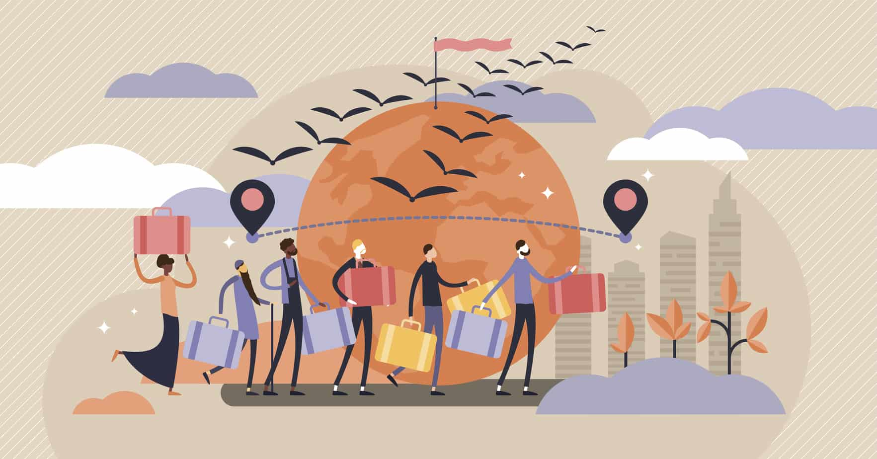 Immigration vector illustration. Flat tiny crisis travel persons concept.